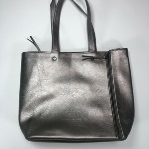 Neiman Marcus Women Silver Handle Tote Bag large